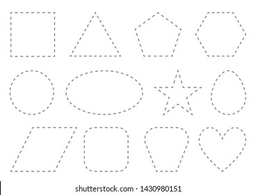 Practice drawing by dashed line. Preschool worksheet for practicing fine skills - tracing dashed lines. Geometry A4 size