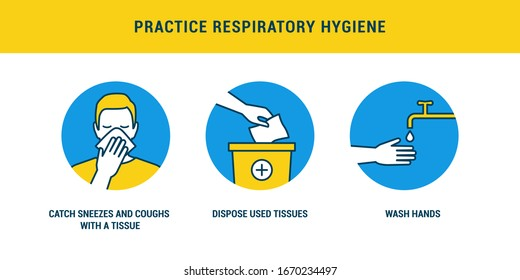 Practice respiratory hygiene using tissues to catch cough and washing hands, covid-19 prevention