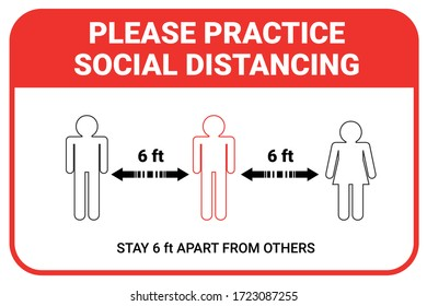 Practice social distancing, keep distance in public facility to avoid or protect from COVID-19 coronavirus outbreak spreading concept. Infographic design keeping space or distance from other people