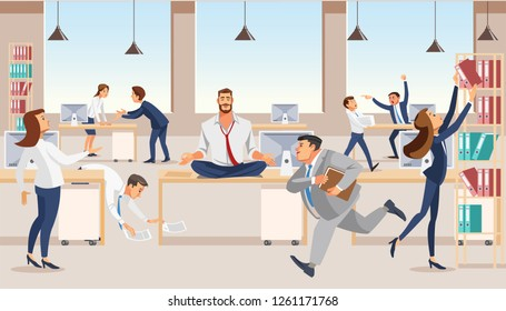 Practicing Yoga at Workplace Flat Vector Concept with Businessman or Company Employee Meditating, Sitting in Lotus Pose on Desk in Middle of Noisy Office with Busy and Hurrying Colleagues Illustration