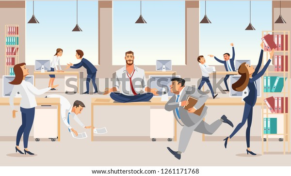 Practicing Yoga Workplace Flat Vector Concept Stock Vector Royalty Free 1261171768