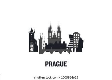 Prague art design concept. Flat vector illustration.