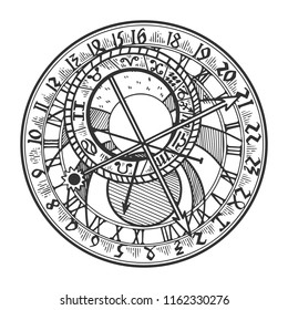 Prague astronomical clock engraving vector illustration. Scratch board style imitation. Black and white hand drawn image.