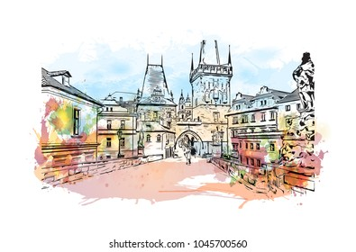 Prague Capital of the Czech Republic. Watercolor splash with Hand drawn sketch illustration in vector.