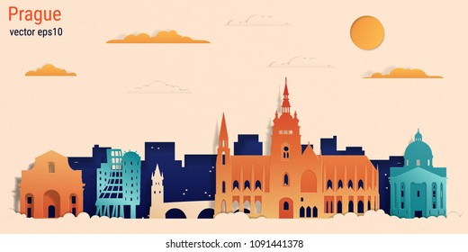 Prague city colorful paper cut style, vector stock illustration. Cityscape with all famous buildings. Skyline Prague city composition for design