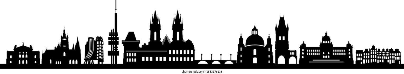 Prague City Czech Skyline Vector Silhouette