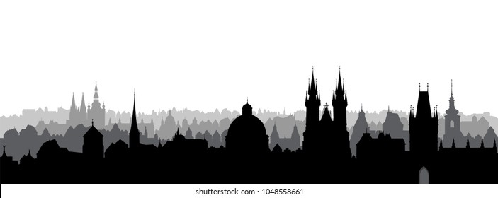 Prague city, Czech. Urban skyline with cathedral landmark buildings silhouette. Travel Prague background