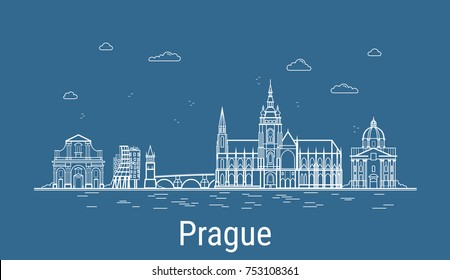 Prague city, Line Art Vector illustration with all famous buildings. Linear Banner with Showplace. Composition of Modern cityscape. Prague buildings set