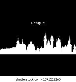 Prague city silhouette skyline. Czech Republic - Prague city vector city, czech linear architecture. Prague city travel illustration, outline landmarks. Czech Republic flat icon, czech line banner