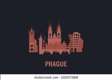 Prague city skyline illustration. Flat vector design.