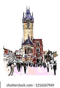 Prague clock tower sketch drawing, Czech Republic, vector illustration