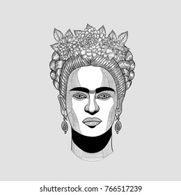 PRAGUE, CZ - DECEMBER 1, 2017: Creative modern vector illustration. Frida Kahlo de Rivera