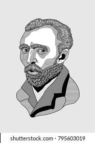 PRAGUE, CZ - January 17, 2018: Creative modern vector illustration. Vincent van Gogh
