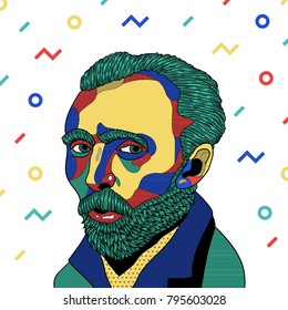 PRAGUE, CZ - January 17, 2018: Creative modern vector illustration. Vincent van Gogh