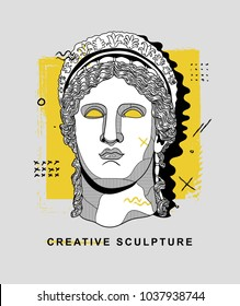 PRAGUE, CZ - March 4, 2018:  Creative Sculpture. Vector illustration hand drawn. Hera / Juno