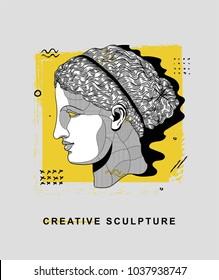 PRAGUE, CZ - March 4, 2018: Creative Sculpture. Vector illustration hand drawn. Artemis / Diana