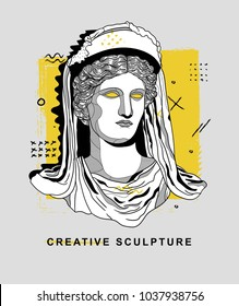 PRAGUE, CZ - March 4, 2018: Creative Sculpture. Vector illustration hand drawn. Demeter / Ceres