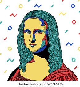 PRAGUE, CZ - NOVEMBER 26, 2017: Creative modern painting. Vector. Mona Lisa - Gioconda by  Leonardo da Vinci