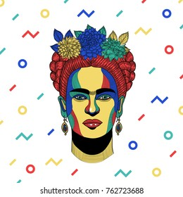 PRAGUE, CZ - NOVEMBER 26, 2017: Creative modern vector illustration. Frida Kahlo de Rivera