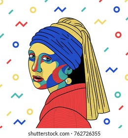 PRAGUE, CZ - NOVEMBER 26, 2017: Creative modern vector illustration. Girl with a pearl earring by Johannes Vermeer. Colorful mosaic style.
