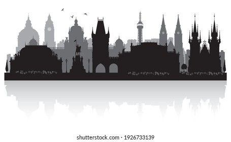 Prague Czech city skyline vector silhouette illustration