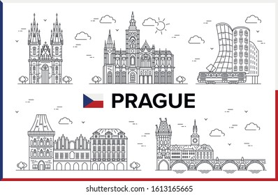 Prague, Czech Republic. Old Town Square, Charles Bridge, Church of Mother of God (Our Lady) before Tyn, St. Vitus Cathedral, Dancing House, buildings and city sights. Vector illustration