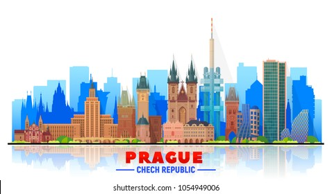 Prague ( Czech Republic ) skyline with panorama in white background. Vector Illustration. Business travel and tourism concept with modern buildings. Image for banner or web site.