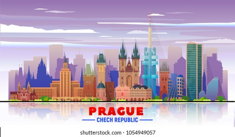 Prague ( Czech Republic ) skyline with panorama in sky background. Vector Illustration. Business travel and tourism concept with modern buildings. Image for banner or web site.