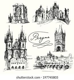 Prague - hand drawn collection