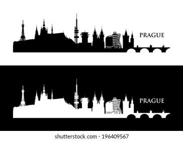 Prague skyline - vector illustration