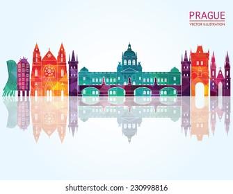 Prague skyline. Vector illustration