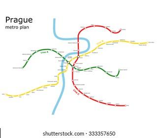 Map prague english metro Prague Map