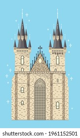 Prague Tyn Church of Mother of God. Czech Republic famous medieval cathedral building located in Old Town Square. Gothic bohemian cathedral tourist attraction. Welcome to Prague flat vector eps. 10.
