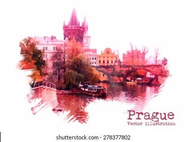 Prague vector illustration. Watercolor illustration