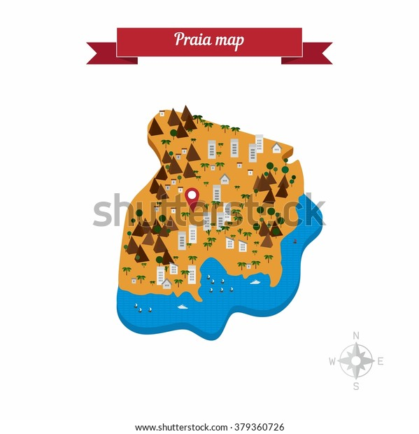 Praia Cape Verde Map Flat Style Stock Vector (Royalty Free ...