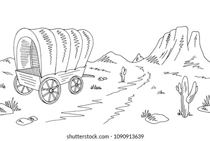 Prairie covered wagon graphic black white American desert sketch landscape illustration vector