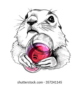 Prairie Dog Portrait with glass of red wine. Vector illustration.