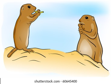 Prairie dogs on the sand