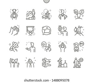 Praised and satisfied people Well-crafted Pixel Perfect Vector Thin Line Icons 30 2x Grid for Web Graphics and Apps. Simple Minimal Pictogram