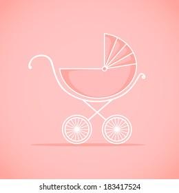 Pram for baby.  Vector illustration. Background