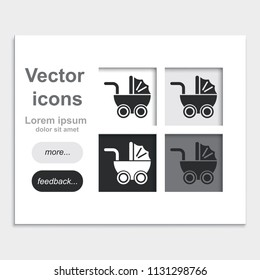 Pram placed on web page template flat vector icon.