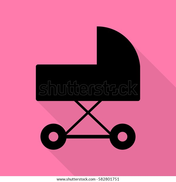 Pram sign illustration. Black icon with flat style shadow path on pink background.
