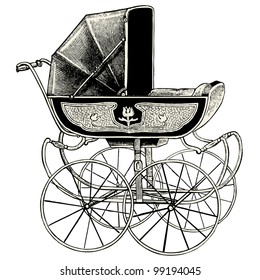 Pram - vintage engraved illustration - Catalog of a French department store - Paris 1909