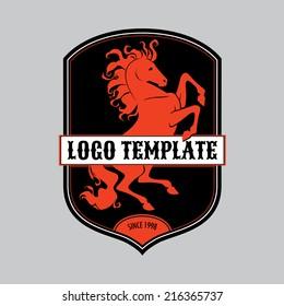 Prance horse silhouette logo template
