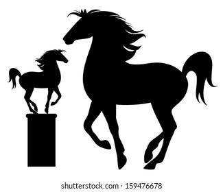 prancing horse black vector silhouette - detailed outline over white