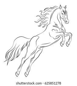 Prancing mustang drawn in a black outline