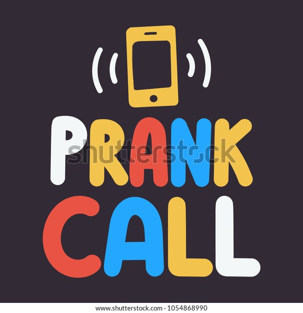 Prank Call Vector Lettering Doodle Icon Stock Vector (Royalty Free