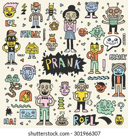 Prank Doodle Color Set. Wacky Funny Characters. Vector Hand Drawn Illustration.