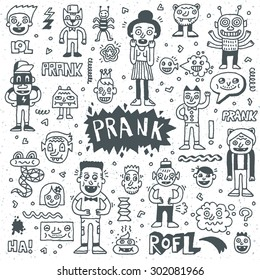Prank Doodle Set. Wacky Funny Characters. Vector Hand Drawn Illustration.