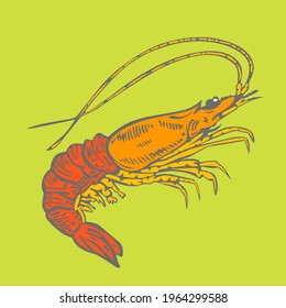 prawn retro style for asset or main logo. Thanks for buying, its very helpful for my hard work.